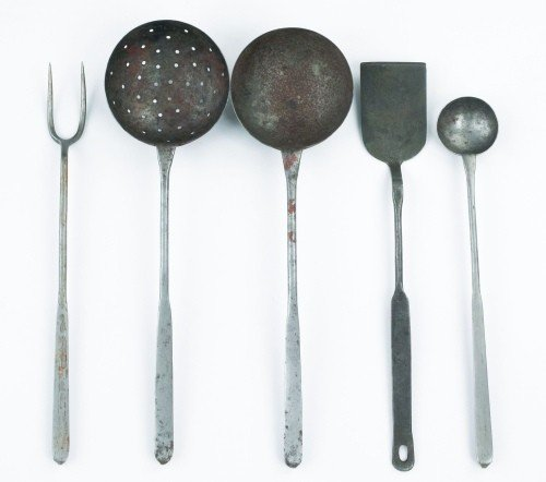 11: Five wrought iron utensils, 19th c., to include a