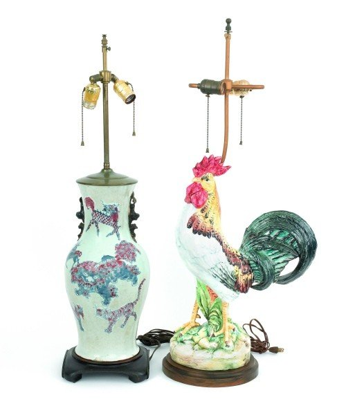 13: Chinese porcelain table lamp, 17'' h., together wi
