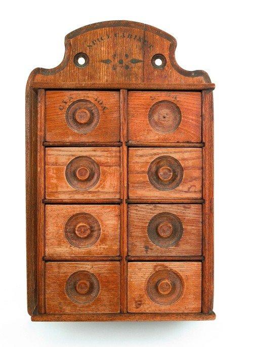 15: Victorian oak spice cabinet, ca. 1900, 17'' h., 11