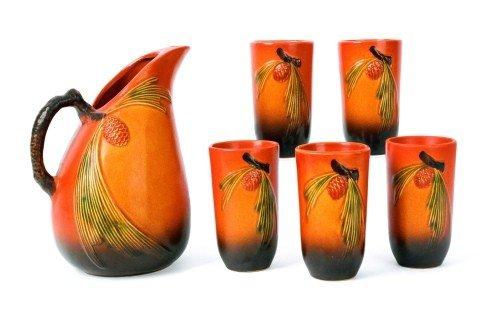 16: Six-piece Roseville pottery pine cone lemonade se