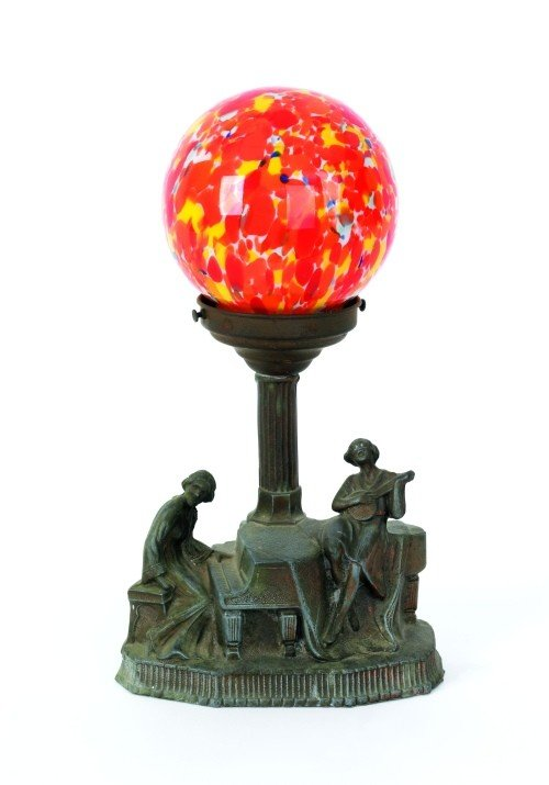21: Spelter figural table lamp with glass globe, 13''