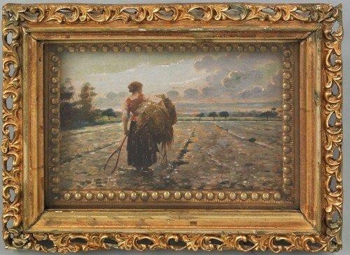 22: Continental oil on panel landscape, 19th c., depi