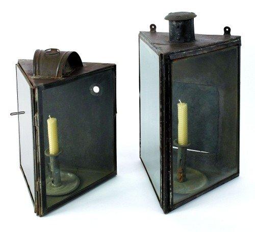 602: Two tin lanterns, 19th c., 13 1/2'' h. and 16 1/2'