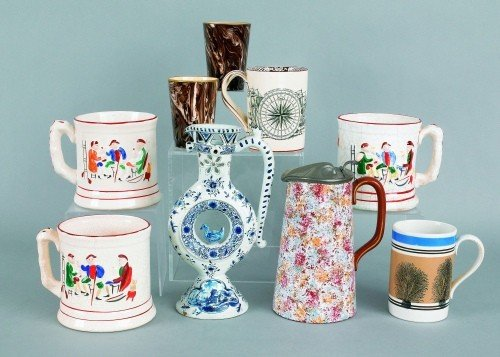 603: Collection of ceramics to include three frog mugs