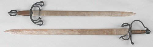 607: Two modern engraved Spanish swords, 41 1/2'' l. an