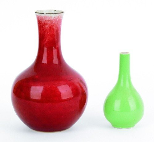 608: Two Chinese pottery vases, 5 1/4'' h. and 8 1/4''