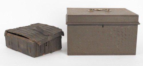 611: Tin document box, 19th c., 8 1/4'' x 14'', togethe