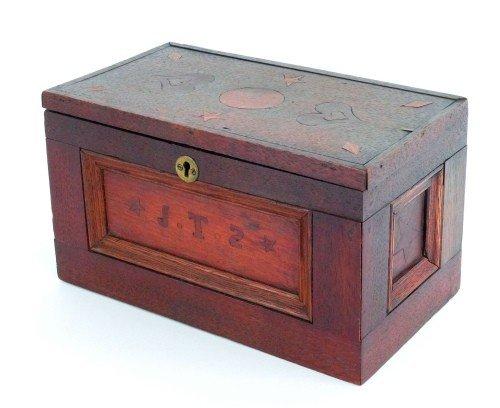 612: Inlaid walnut ditty box, 19th c., initialed J.T.S