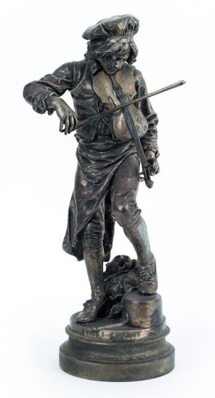 616: White metal sculpture titled Lulli Enfant, 20'' h.