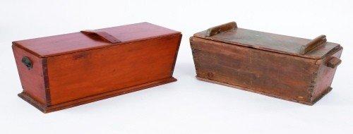 617: Two pine dough boxes, 19th c., 10 1/2'' h., 31'' w