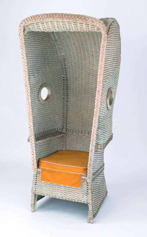 619: Massive hooded wicker chair, ca. 1900, 67 1/2'' h.
