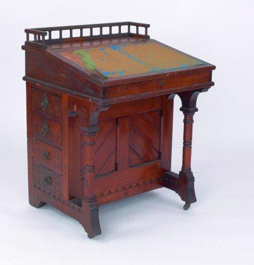620: Victorian walnut davenport desk, ca. 1875, 34'' h.