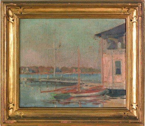 624: Polish oil on canvas harbor scene signed indistin