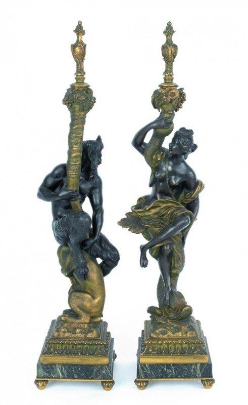 1221: Pair of bronze figural garnitures, 31'' h.