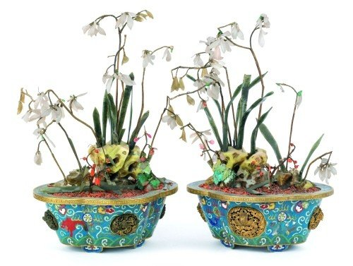 1302: Pair of Chinese jade, cloisonné and carved hardst