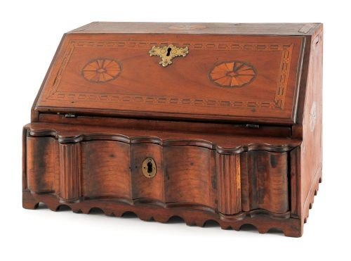 3: George III walnut table top desk, ca. 1780, with