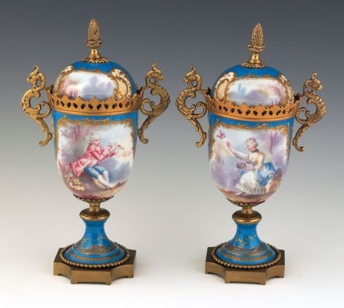 8: Pair of Sevres type turquoise ground ormolu mount