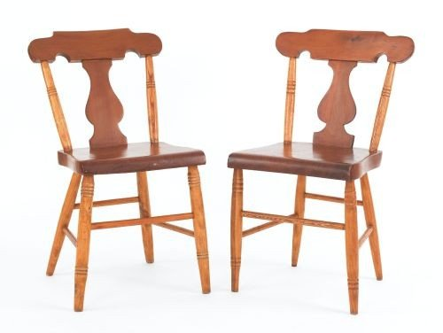 13: Pair of Pennsylvania plank seat side chairs, 19th