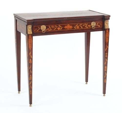 14: Marquetry inlaid mahogany games table, 19th c., w
