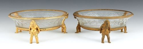 18: Pair of French cut glass bowls with ormolu rims a