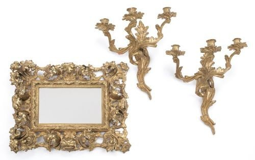 20: Pair of French brass sconces, together with a mir