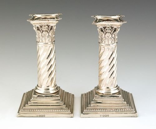 21: Pair of Sheffield sterling silver candlesticks, 1