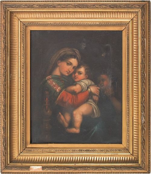 23: Continental oil on canvas of the Madonna and chil