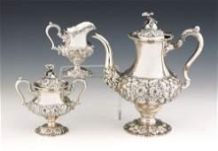 304: Steiff sterling silver three-piece tea service wi