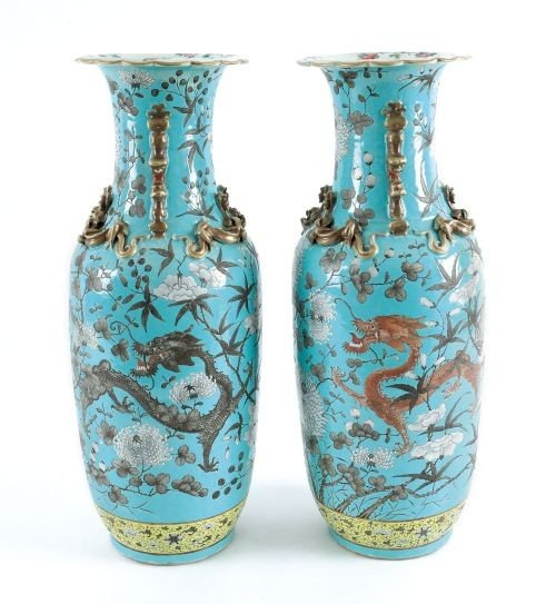 316: Pair of Chinese turquoise ground porcelain vases,