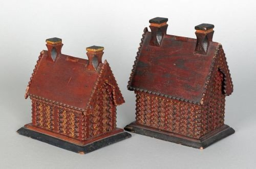 2: Two chip carved painted house banks, 19th c., b