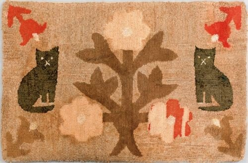8: American hooked rug, 19th c., depicting two cat