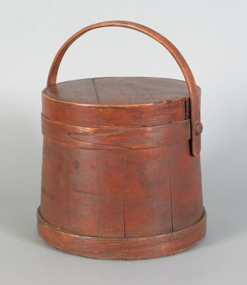 9: Painted pine firkin, 19th c., retaining an old