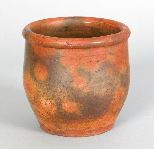 12: Pennsylvania redware crock, 19th c., with green