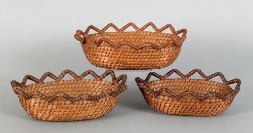 13: Nest of three Pennsylvania rye straw baskets, 19