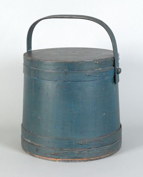 15: New England painted pine firkin, 19th c., stamp