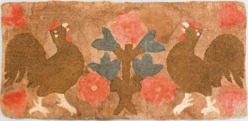 17: American hooked rug, ca. 1900, depicting two ro
