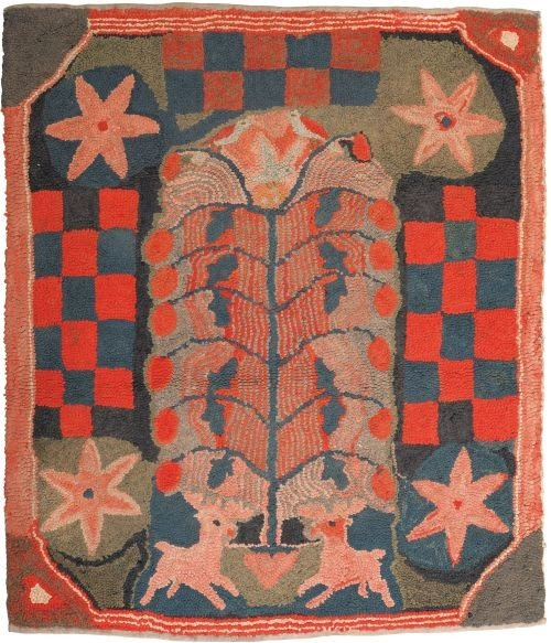 18: American hooked rug, 19th c., depicting two sta