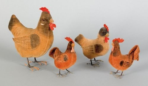 21: Four felt roosters, 19th c., with wire legs, ta