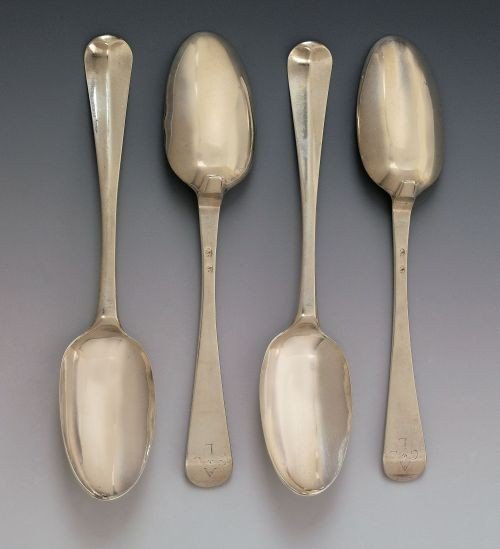 229: Set of four New York silver tablespoons, ca. 175