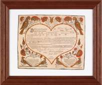 283: Ephrata printed and hand colored fraktur by J. B