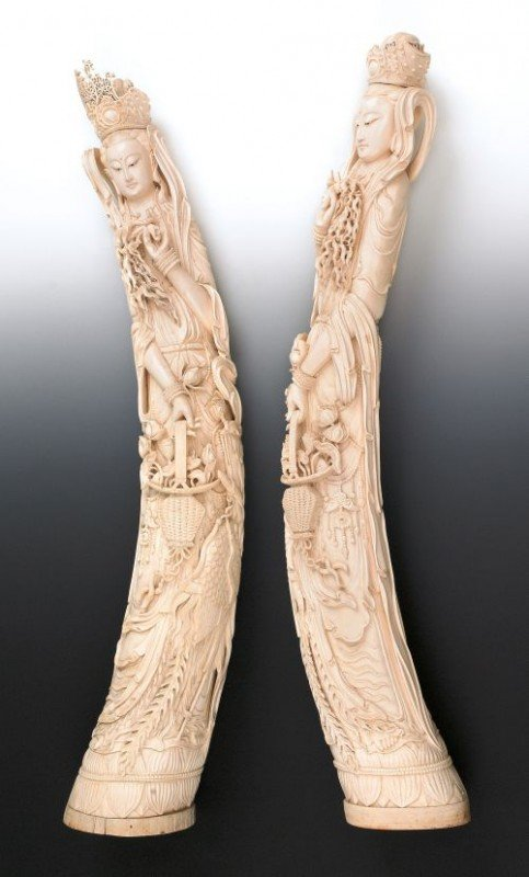629: Pair of massive Chinese carved ivory figures of