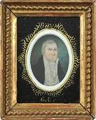 752 Miniature watercolor on ivory portrait of a gent
