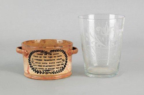 13: Sunderland butter tub, 19th c., 2 3/4'' h., togeth