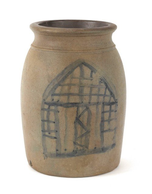 24: Pennsylvania stoneware crock, 19th c., one side w