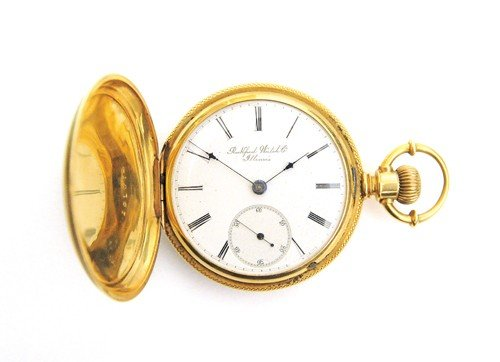 229: Rockford Watch Co., 18k gold pocket watch with hu