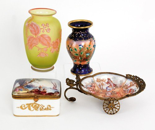 382: Sevres style dresser box, together with an enamel