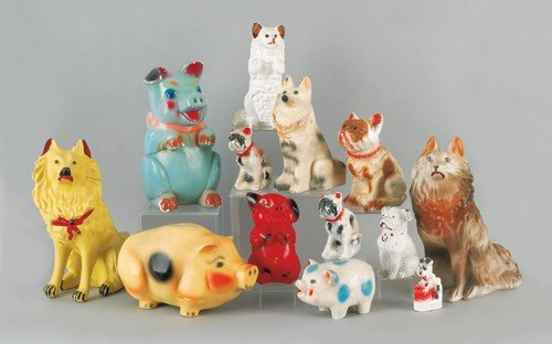 766: Thirteen pieces of carnival chalkware, 20th c., t
