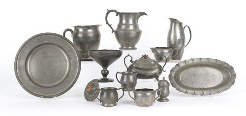 769: Collection of pewter tablewares.