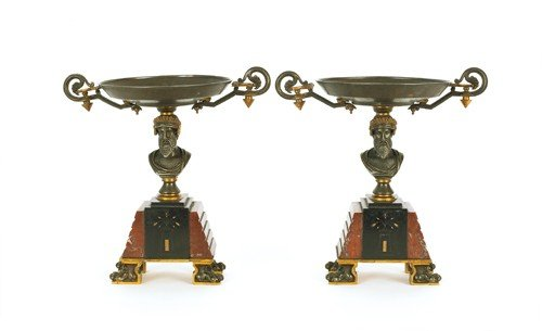 771: Pair of marble and slate garnitures, 10 1/2'' h.