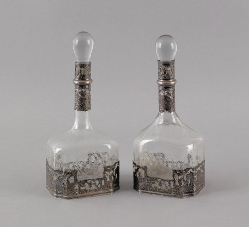 773: Pair of Continental silver mounted etched glass d